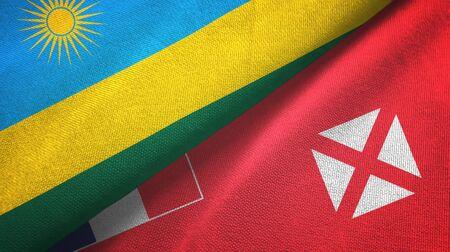 Rwanda and Wallis and Futuna two folded flags together