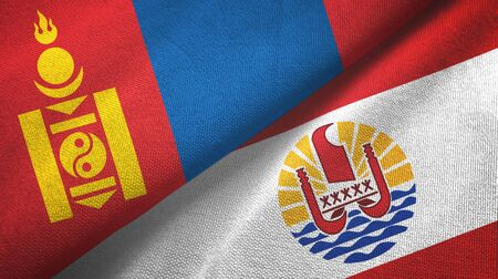Mongolia and French Polynesia two folded flags together