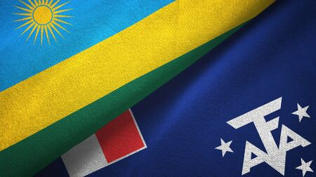 Rwanda and French Southern and Antarctic Lands two folded flags together Imagens