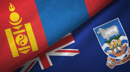 Mongolia and Falkland Islands two folded flags together