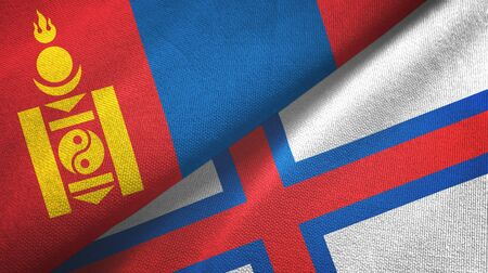 Mongolia and Faroe Islands two folded flags together