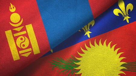 Mongolia and Guadeloupe two folded flags together