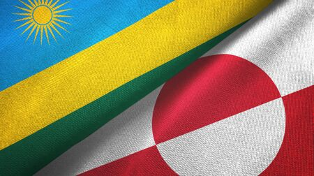 Rwanda and Greenland two folded flags together