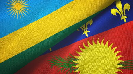 Rwanda and Guadeloupe two folded flags together