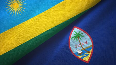 Rwanda and Guam two folded flags together