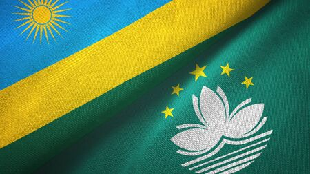 Rwanda and Macau two folded flags together Imagens