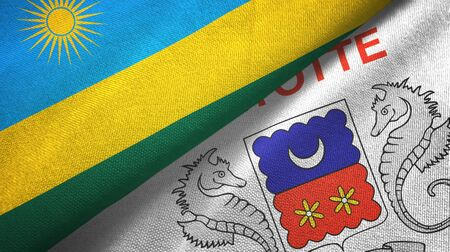 Rwanda and Mayotte two folded flags together