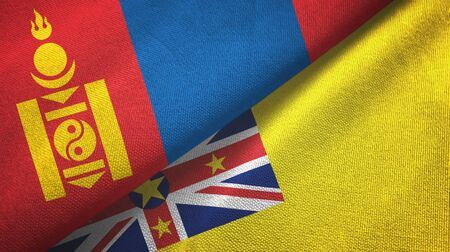 Mongolia and Niue two folded flags together