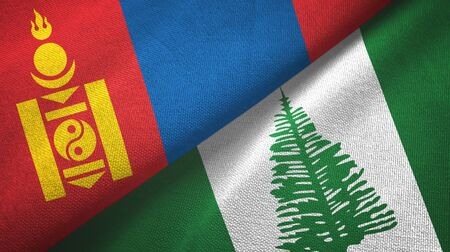 Mongolia and Norfolk Island two folded flags together Imagens
