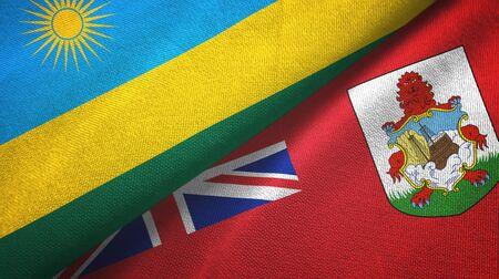 Rwanda and Bermuda two folded flags together