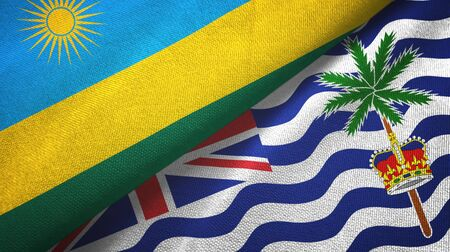 Rwanda and British Indian Territory two folded flags together Imagens