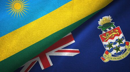 Rwanda and Cayman Islands two folded flags together