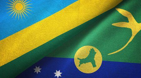 Rwanda and Christmas Island two folded flags together