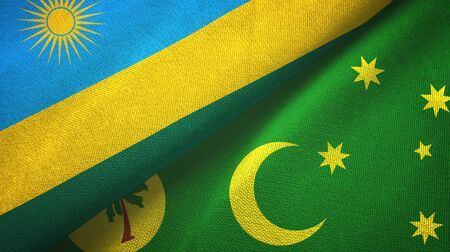 Rwanda and Cocos Keeling Islands two folded flags together