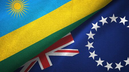 Rwanda and Cook Islands two folded flags together Imagens