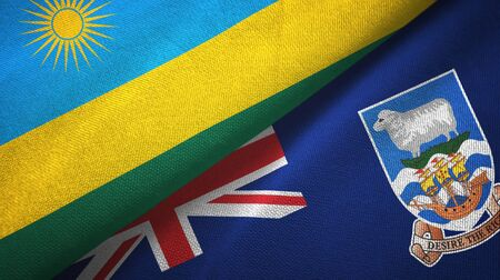Rwanda and Falkland Islands two folded flags together Imagens