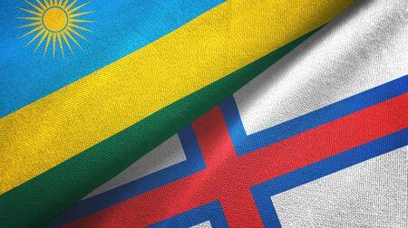 Rwanda and Faroe Islands two folded flags together