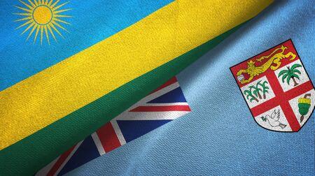 Rwanda and Fiji two folded flags together