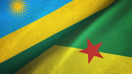 Rwanda and French Guiana two folded flags together
