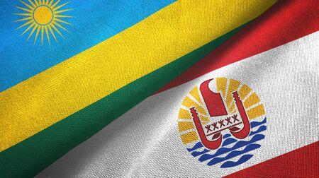 Rwanda and French Polynesia two folded flags together Imagens