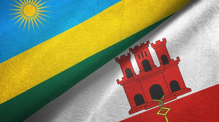Rwanda and Gibraltar two folded flags together