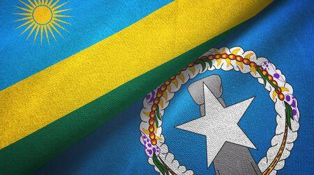 Rwanda and Northern Mariana Islands two folded flags together