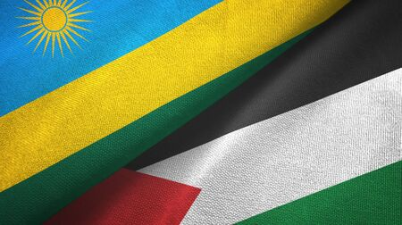 Rwanda and Palestine two folded flags together