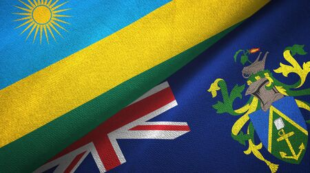 Rwanda and Pitcairn Islands two folded flags together Imagens
