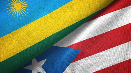 Rwanda and Puerto Rico two folded flags together