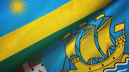 Rwanda and Saint Pierre and Miquelon two folded flags together