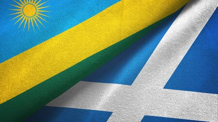 Rwanda and Scotland two folded flags together
