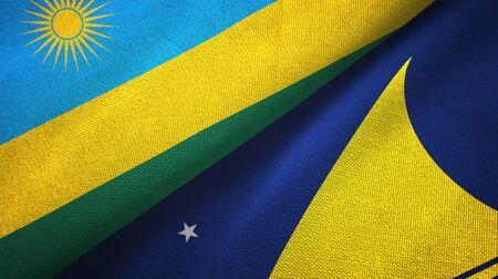 Rwanda and Tokelau two folded flags together