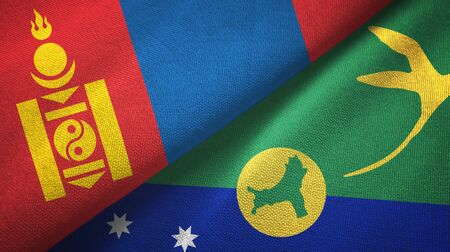 Mongolia and Christmas Island two folded flags together