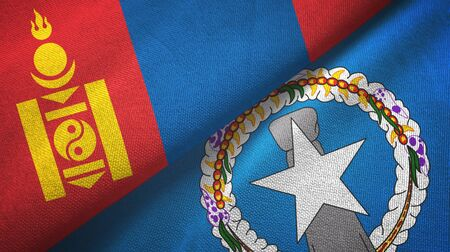 Mongolia and Northern Mariana Islands two folded flags together