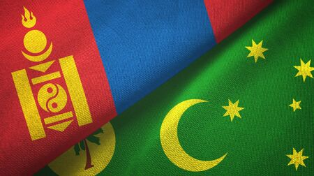 Mongolia and Cocos Keeling Islands two folded flags together