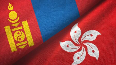 Mongolia and Hong Kong two folded flags together