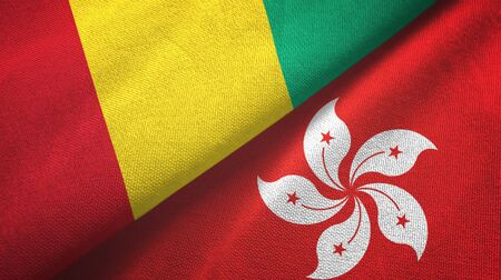 Guinea and Hong Kong two folded flags together