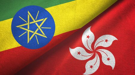 Ethiopia and Hong Kong two folded flags together