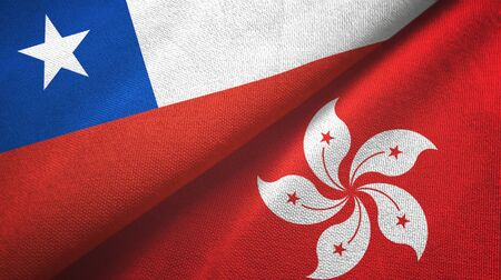 Chile and Hong Kong two folded flags together Stock Photo