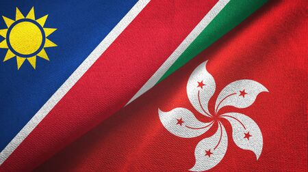 Namibia and Hong Kong two folded flags together
