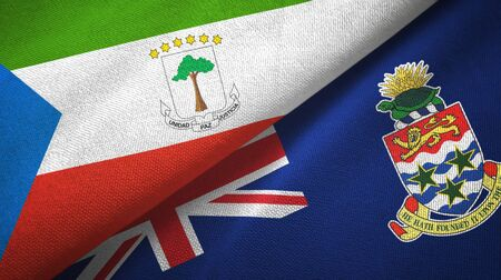 Equatorial Guinea and Cayman Islands two folded flags together Stock Photo