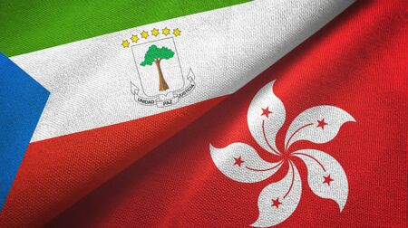 Equatorial Guinea and Hong Kong two folded flags together
