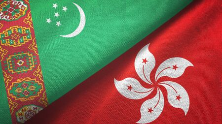 Turkmenistan and Hong Kong two folded flags together