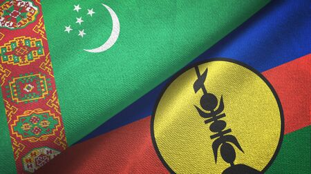 Turkmenistan and New Caledonia two folded flags together