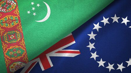 Turkmenistan and Cook Islands two folded flags together