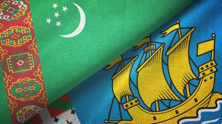 Turkmenistan and Saint Pierre and Miquelon two folded flags together Stock Photo