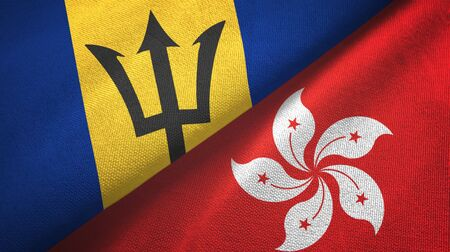 Barbados and Hong Kong two folded flags together Stock Photo