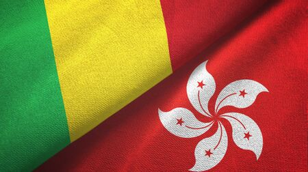 Mali and Hong Kong two folded flags together