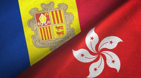 Andorra and Hong Kong two folded flags together