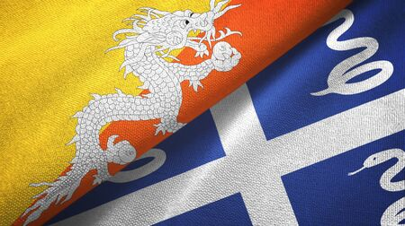 Bhutan and Martinique snake two folded flags together